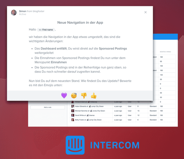 User Feedback via Intercom